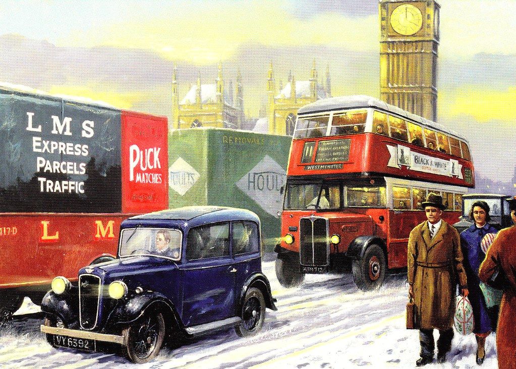 London Christmas Card Depicting A Lovely London Transport
