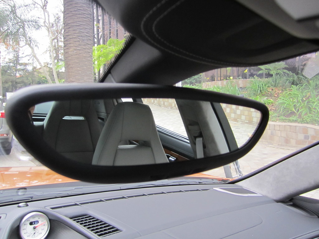 Rear View Mirror In Leather On Porsche Panamera Turbo S
