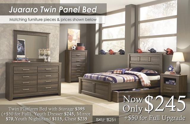 Juararo Twin Pane Bed and invidual prices B251
