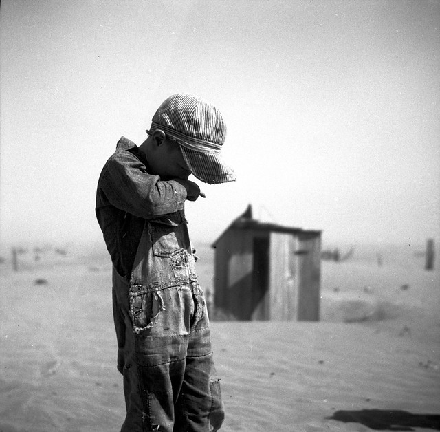 Dust is too much for this farmer's son in Cimarron County, Oklahoma. April 1936