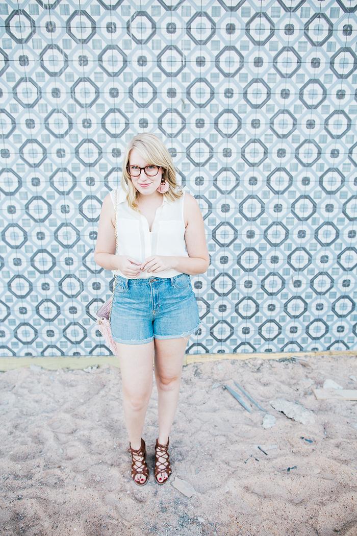 theory blouse denim shorts3
