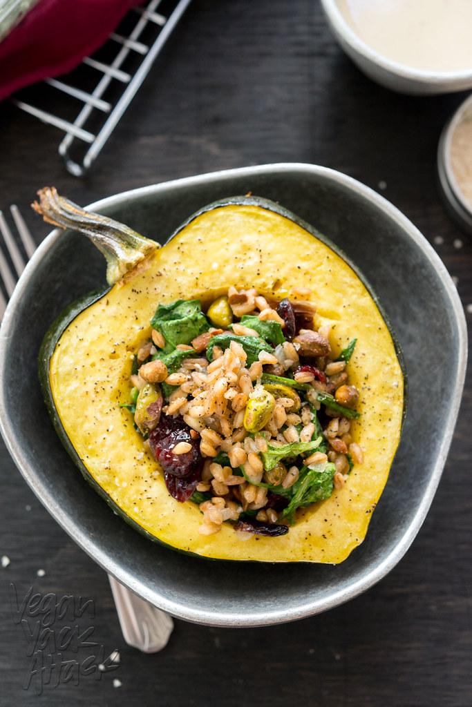 Farro-Stuffed Acorn Squash with Maple Tahini Dressing - delicious, healthy, and easy-to-make! #vegan #soyfree @VeganYackAttack