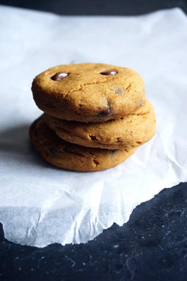 Stack of soft gluten free pumpkin chocolate chip cookies