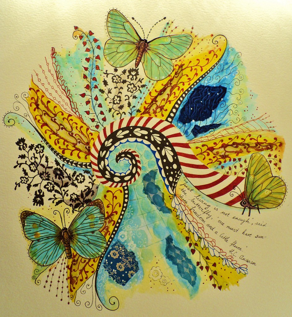 Butterfly Mandala Made On 32x40cm Watercolor Paper Done