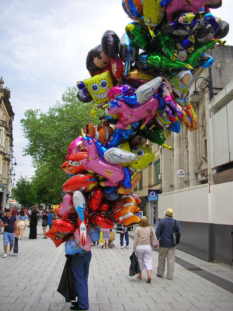 Balloon Seller Queen St Cardiff Biggest Amount Of