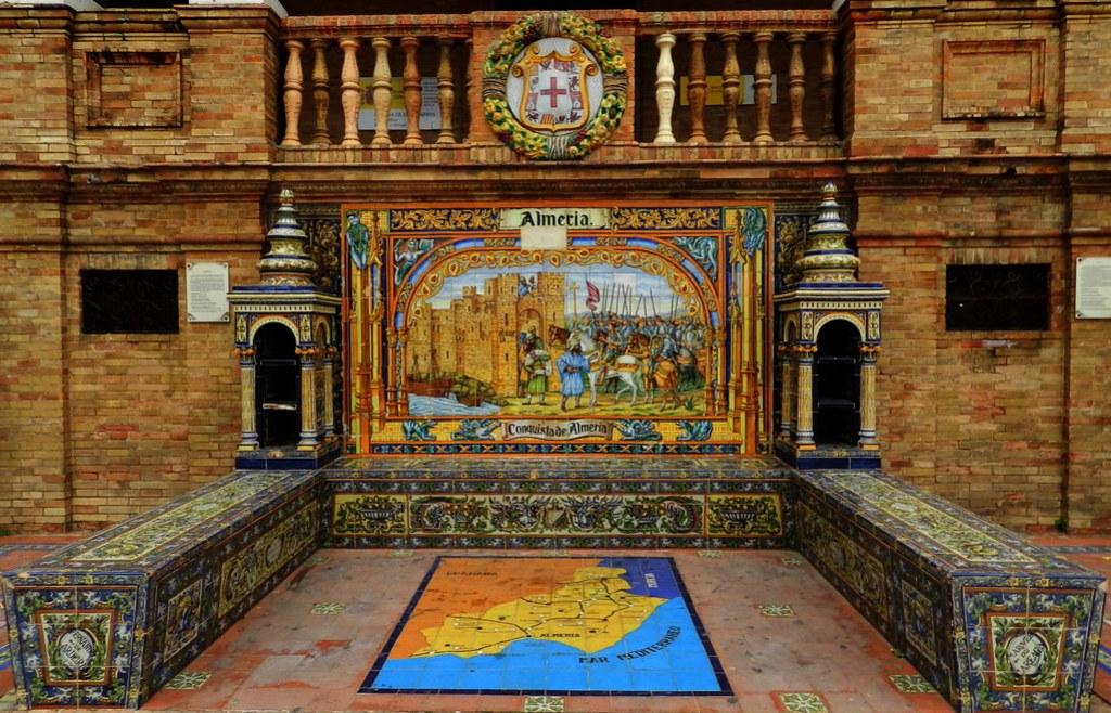 Banco de cerámica dedicado a Almeria en la Plaza de España de Sevilla
