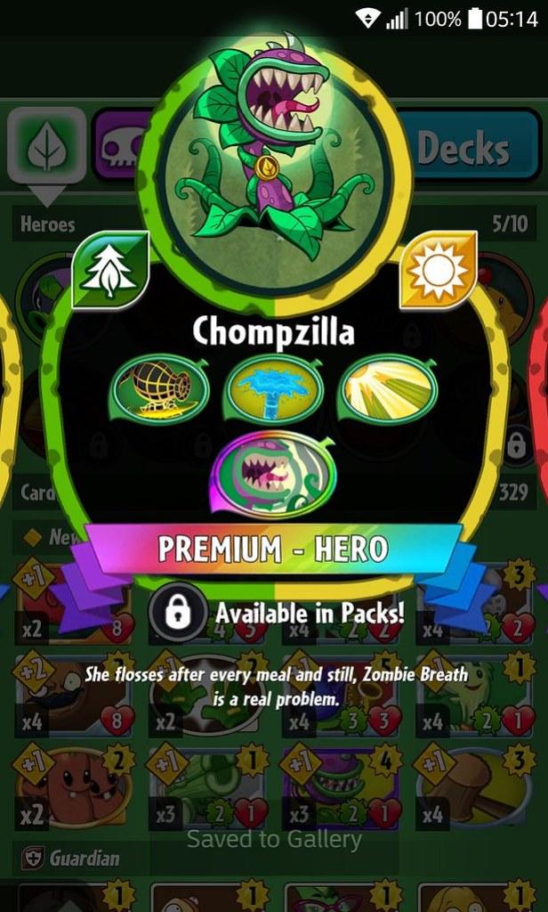 plant hero list chompzilla