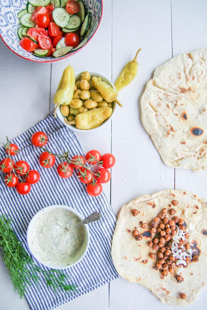 Charwarma aux pois-chiches rôtis et légumes {vegan}