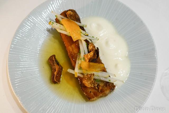 grilled cook's pork belly pear cream / burnt honey gel / cumin dashi / saffron pears
