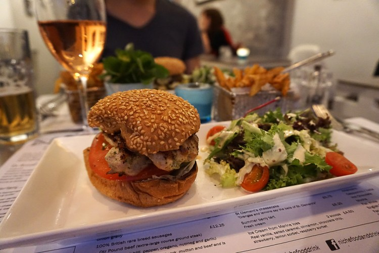 Gluten free chicken burger from Niche in Angel, Islington, London