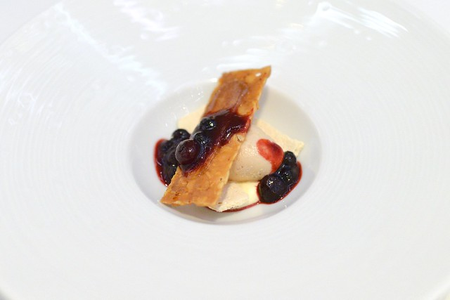 Chestnut Ice Cream, Cheese Cake Mousseline, Cassis Marmalade and Almond Nougatine