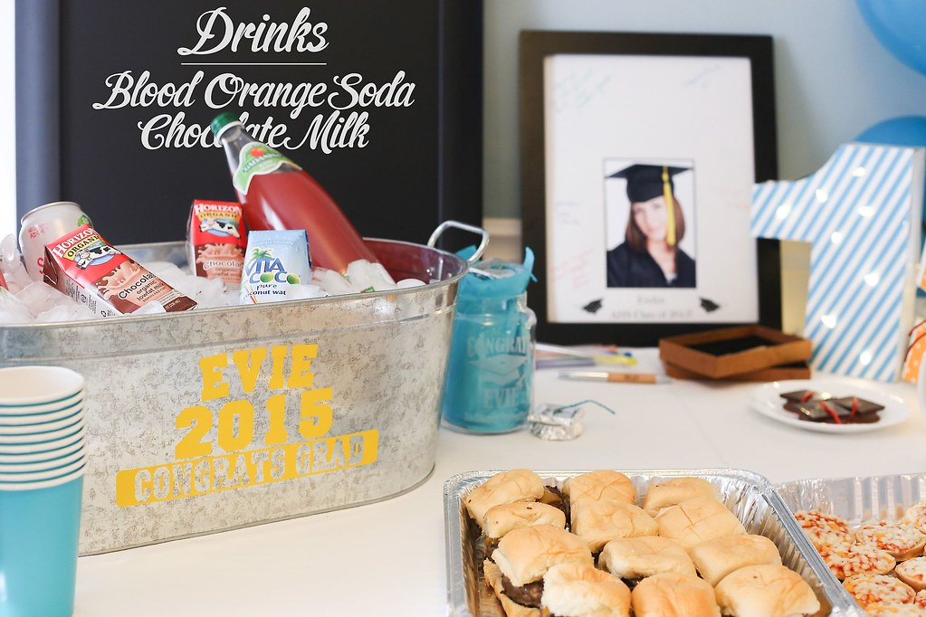 Graduation Party Table With Steel Tub Full Of Drinks Deco