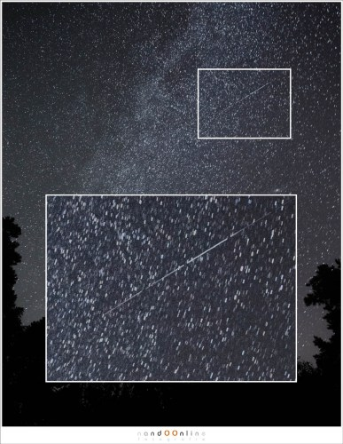 Een iridium flare. Een stack van 4 foto's van elk 10 seconden. De tijd tussen het oplichten en doven duurde dus ongeveer 40 seconden
