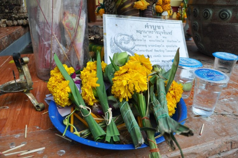 Offerings for monks in Chiang Khan, Thailand, March 2015.