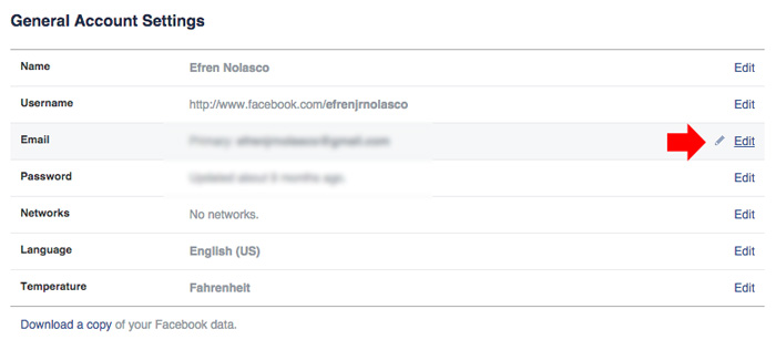 how to change Facebook primary email step 2