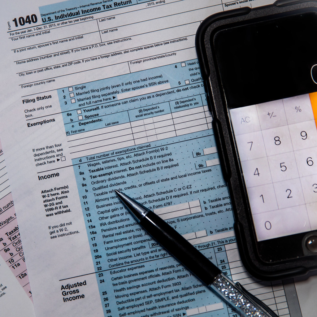 Calculating Your Tax Return 1040 Form This Close Up Of A