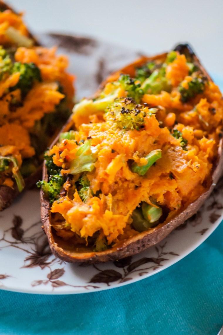 Cheesy Broccoli Twice Baked Sweet Potatoes 3