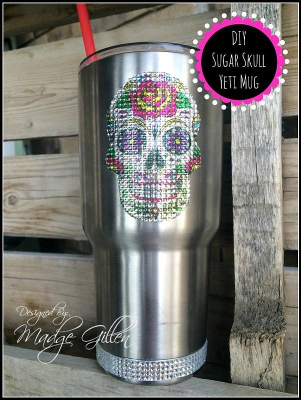 DIY Sugar Skull Bling Yeti Mug