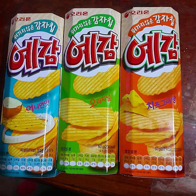 最近去年#韓國 買的東西沒想到了#臺灣 的 #全聯 也有。 #오리온 #예감 #好麗友 #烘焙洋芋片味道有三種噢 ...