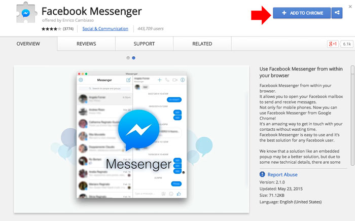 add FB messenger to Chrome step 1