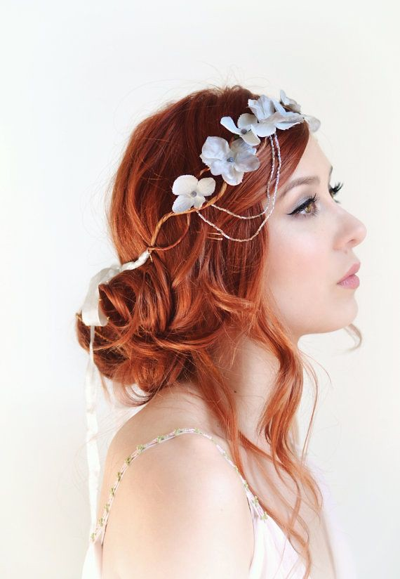 Silver Flower Crown Wedding Headpiece Grey Floral Crown