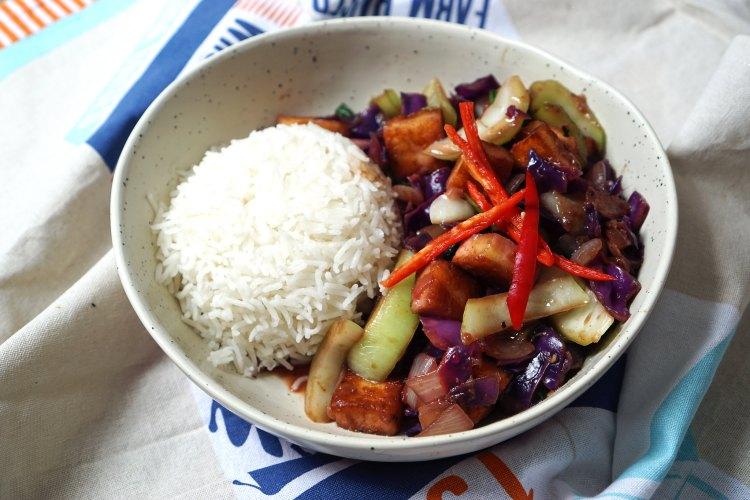 Paneer and pak choi gluten free Chinese stir fry