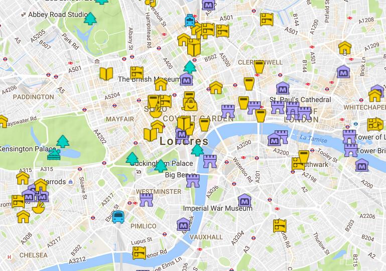 Carte Dtaille De Londres Avec Tous Les Lieux Du Guide
