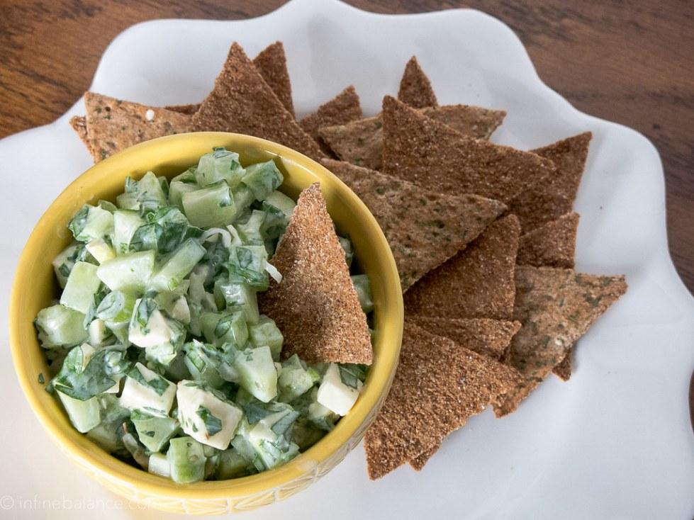 cucumber salad with rye crisp breads