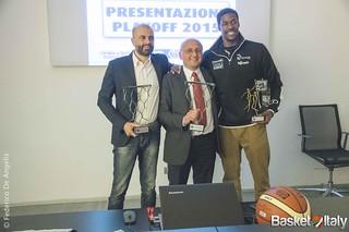 Presentazione playoff & Lega Basket Awards buscaglia, tony mitchell, salvatore trainotti, trento