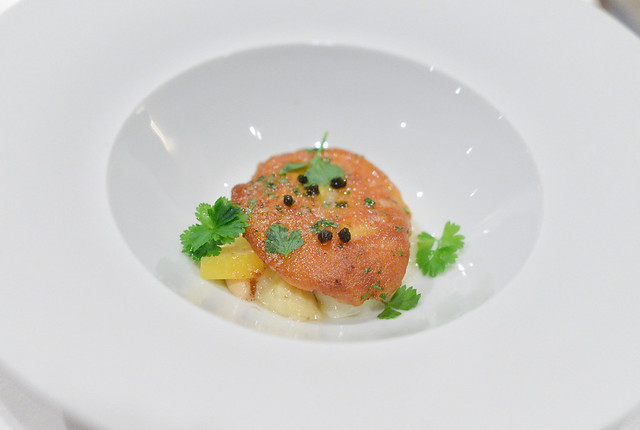 """MONTEREY BAY ABALONE """"PICCATA"""" White Asparagus, Toasted Almonds, Spanish Capers and Brown Butter"""