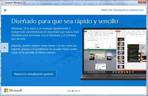 invitación a actualizar a Windows 10