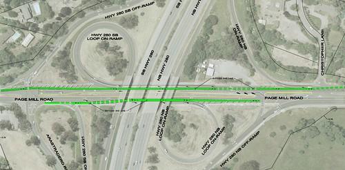 Santa Clara County Roads dept Page Mill & I-280 bike lanes proposal