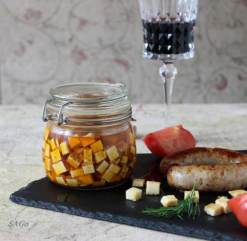 закуска из маринованного сыра, вино Icono, еда и вино, эногастрономическое сочетание, рецепт с фото, сыр адыгейский