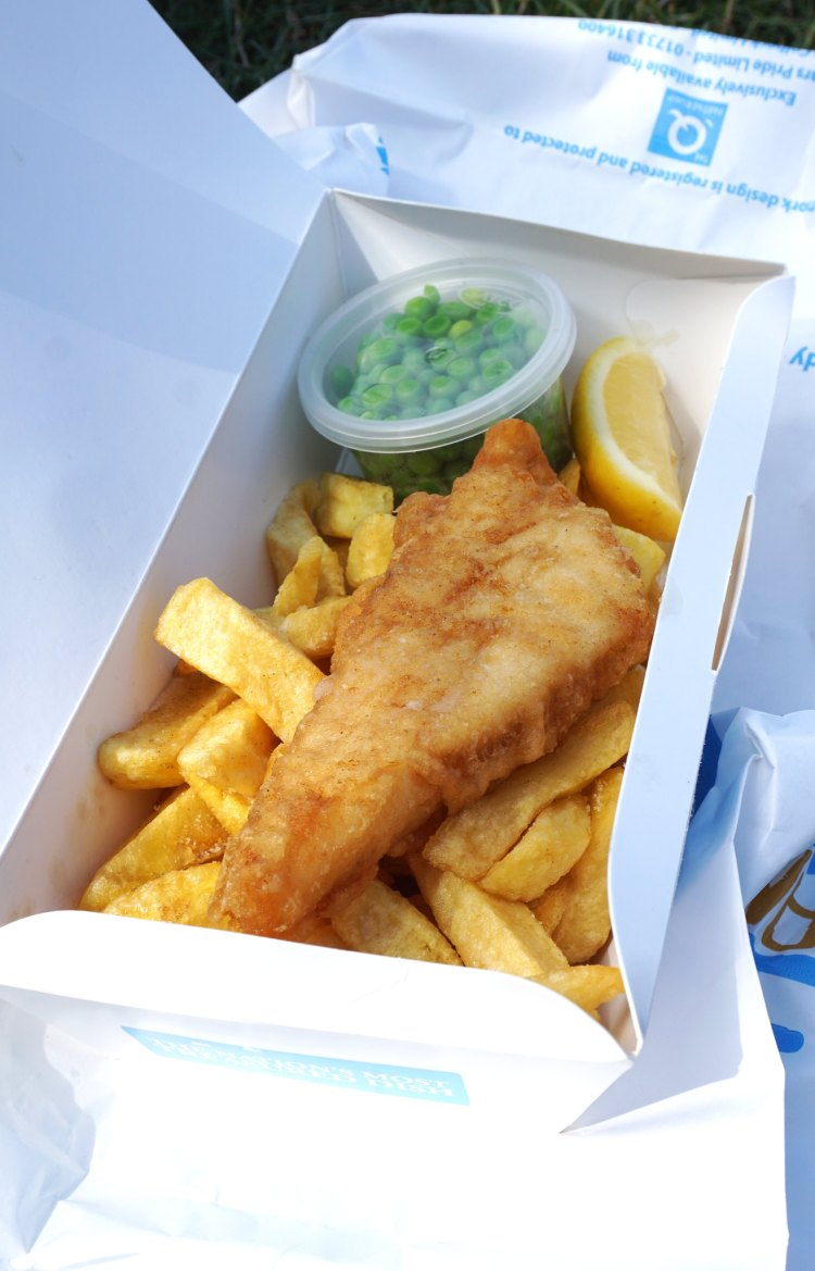 gluten free fish, chips and peas from Olley's Fish Experience in Brixton/Herne Hill, London