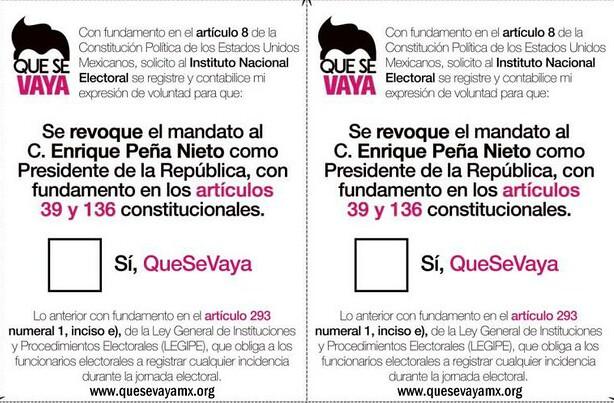 Piden al INE contar papeletas a favor de revocar mandato de Peña