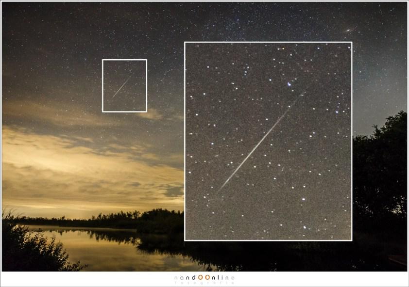 Een echte vallende ster, waarbij de typische vorm van het lichtspoor duidelijk te zien is. Vaak is dit spoor ook nog groen getint. (EOS 1Dx met Ef24-70mm f/2,8L II @ 24mm   ISO6400   f/2,8   10 sec)