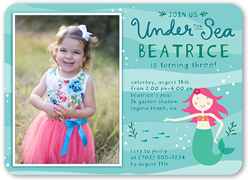 marvelous mermaid 5x7 girls party invitations shutterfly