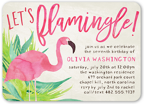 Lets Flamingle 5x7 Teen Girl Birthday Invitations