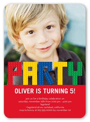 lego party 5x7 boy birthday invitations shutterfly