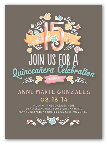 floral fifteen quinceanera invitations shutterfly