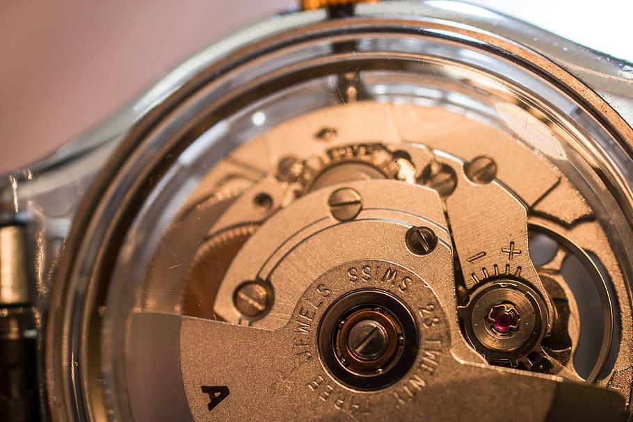 round gray mechanical watch, movement, mechanics, automatic watch, HD wallpaper