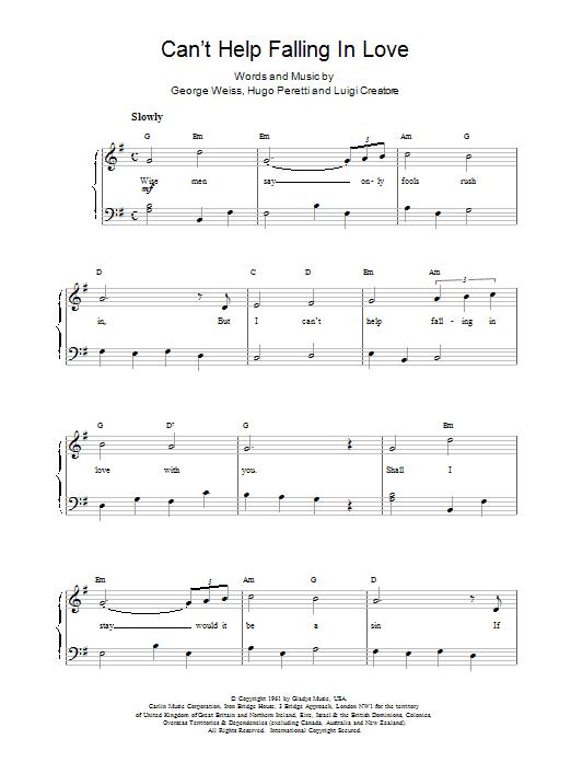 Can T Help Falling Love Piano Sheet Music