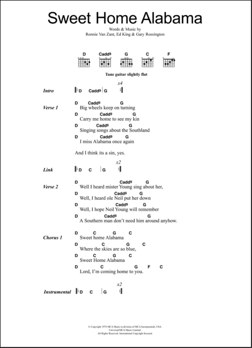 """This guitar lesson is for a solo acoustic version of """"sweet home alabama"""" by. Sweet Home Alabama Chords Sheet And Chords Collection"""