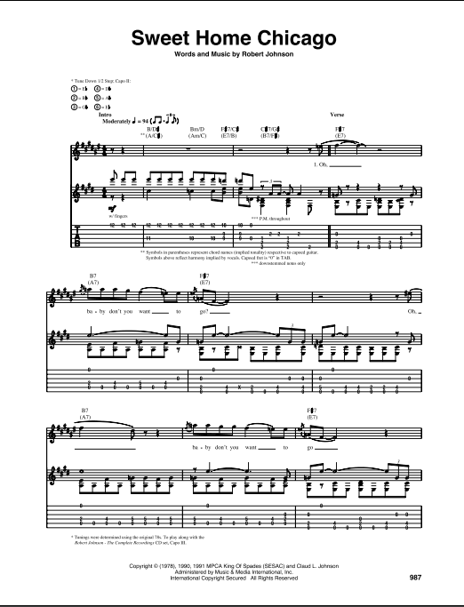 Other articles where sweet home chicago is discussed: Sweet Home Chicago Guitar Tab Zzounds