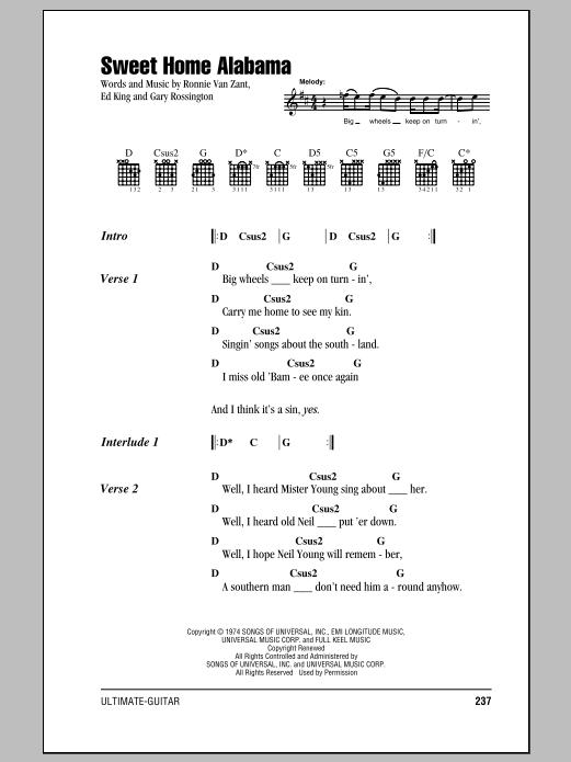 D c g 1 2 3 4 1. Sweet Home Alabama Guitar Chords Lyrics Zzounds