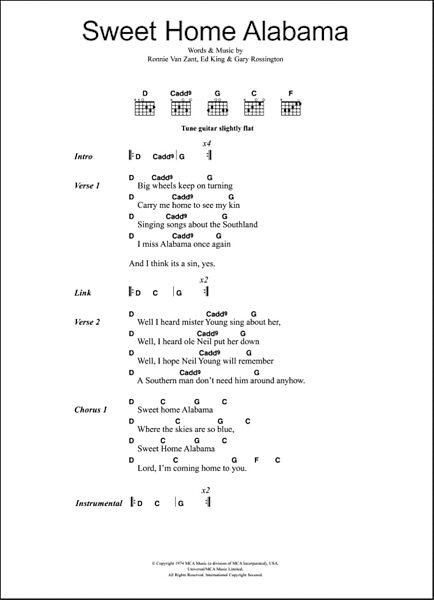 Oct 27, 2015· sweet home alabama bass tab. Sweet Home Alabama Guitar Chords Lyrics Zzounds