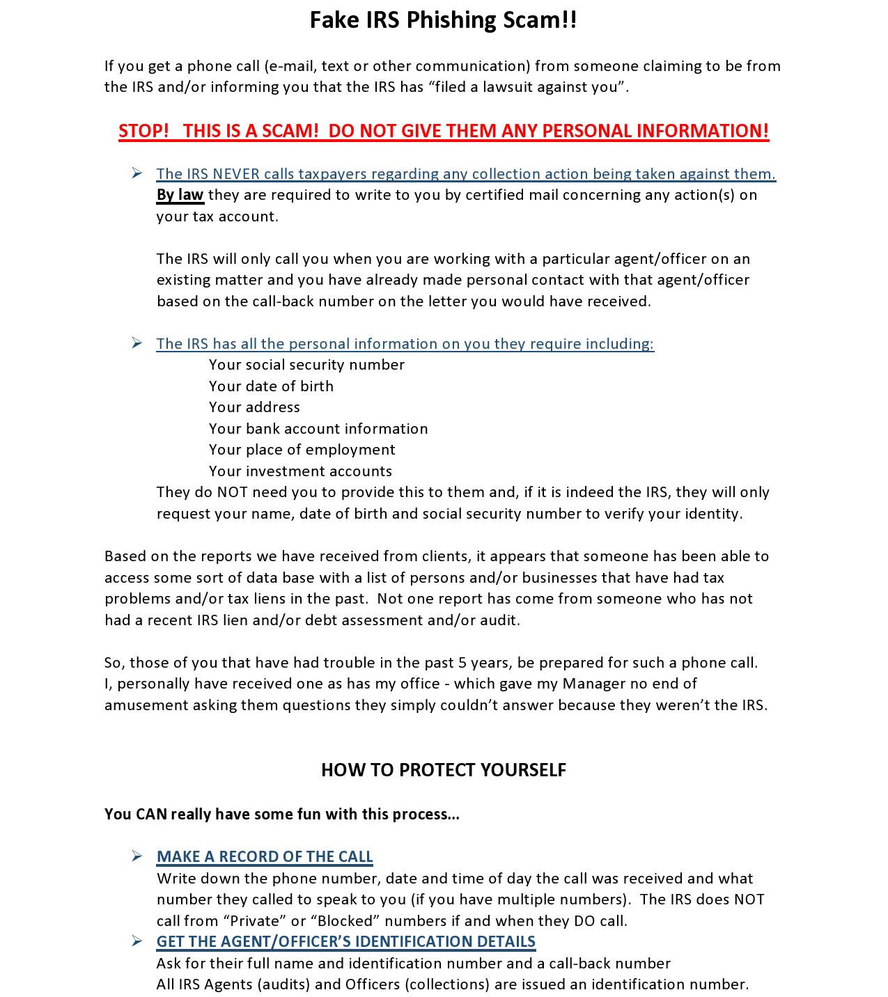 Fake Irs Phishing Scam