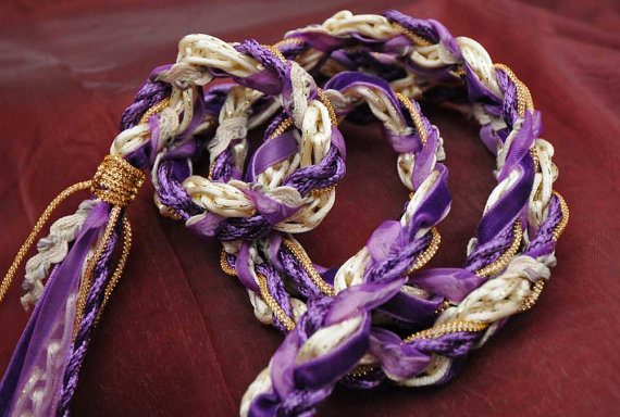 Handfasting Cord In Purple Gold And Cream With Velvet