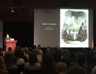 """Claire Jarvis giving her lecture titled """"Edith's Two Bodies"""""""