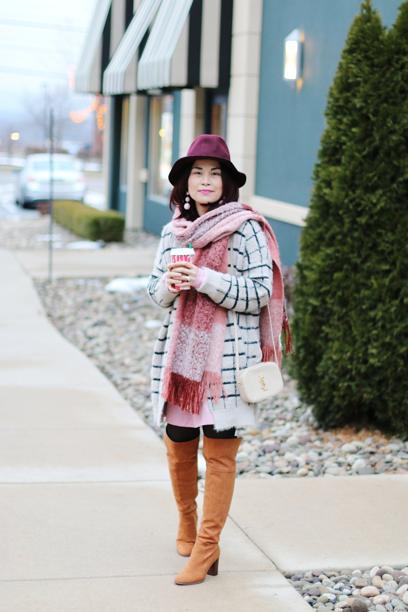 burgundy-hat-pink-scarf-window-pane-cardigan-otk-boots-ysl-bag-6